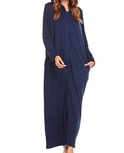 Longue Zippée Longues Bluscuro Robe Capuche ChambreS Manches Femmes Dressing Dromild XXL Peignoir de nSUqX4wH