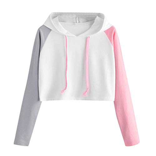 (Vicbovo Cropped Hoodie, Women Teen Girl Contrast Color Block Long Sleeve Hooded Crop Tops Sweatshirt Loose Pullover Shirts (White, S))