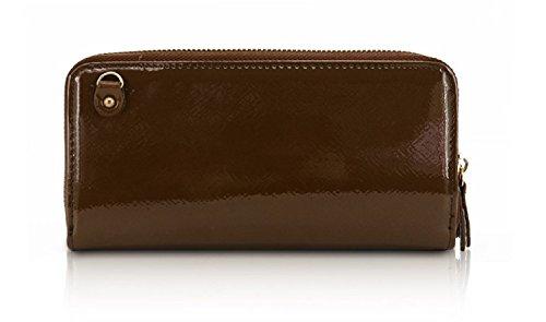 Clutch Ladies Patent Coffee Large Bow LYDC Women's Handbag Purse Wallet GPL310 Designer Bag r8qxrFIfw