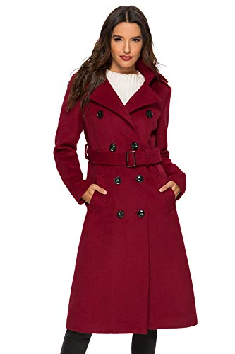 Escalier Womens Wool Coat Double Breasted Winter Long Trench Coat with Belt Wine Small