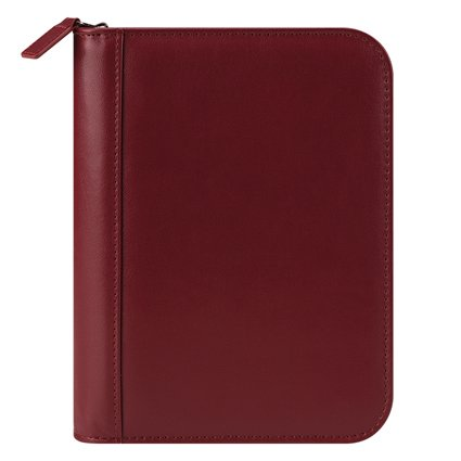 Compact FC Basics Leather Zipper Binder - Red