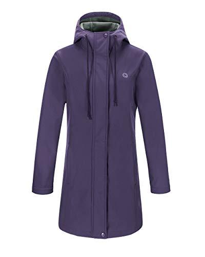 Lined Long Coat - Outdoor Ventures Women's Veda Lightweight Waterproof Windproof Fleece Lined Hooded Long Softshell Jacket Purple