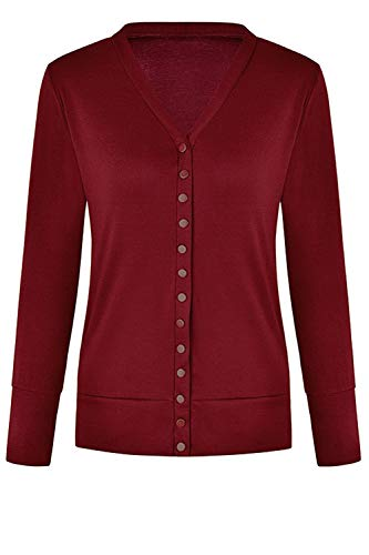 Solido Cardigan Ligero Classic Button Color Women 's Up Abrigo Rojo XL PXE4P8q