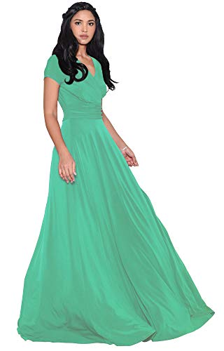 KOH KOH Petite Womens Long Cap Short Sleeve V-Neck Flowy Cocktail Slimming Summer Sexy Casual Formal Sun Sundress Work Cute Gown Gowns Maxi Dress Dresses, Moss/Mint Green XS 2-4
