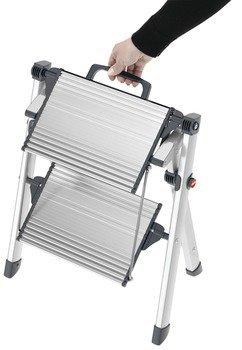 Hafele 2 Steps Stool, with Handle, 330 lbs Load Capacity, Heavy Duty, Folding, Silver/Black
