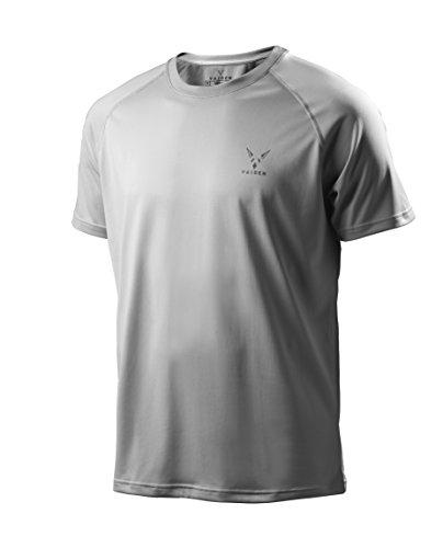 Vaiden Bolt Men's Sports T-Shirt - Silver Technology – Loose, Comfortable Fit – Anti-Odor, Moisture Wicking, Breathable, Quick Dry, Cooling Fitness Tee – (Medium, Grey)