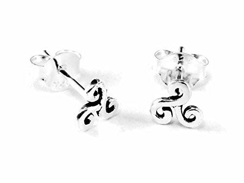 20 gauge (0.8mm) Silver Earring Cartilage Triple Spiral Swirl Triskele Triskelion 1/4