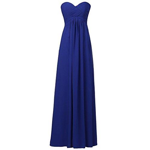 Lemai Sweetheart Pleats Long A Line Corset Formal Women Prom Bridesmaid Dresses Royal Blue US12