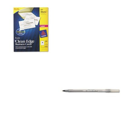 KITAVE5876BICGSM11BK - Value Kit - Avery Two-Side Printable Clean Edge Business Cards (AVE5876) and BIC Round Stic Ballpoint Stick Pen (BICGSM11BK) by Avery