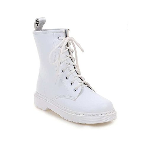 KHSKX-Korean Girls Plus Velvet Winter Boots Boots 8 Hole Tie With Martin White Leather Boots Low Boots White Cashmere