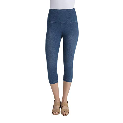 (Lysse Women's Perfect Denim Capri Pants (Mid Wash,M))