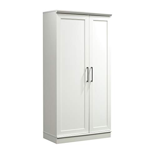 "Sauder 422427 HomePlus Storage Cabinet, L: 35.35"" x W: 17.09"" x H: 71.22"", Soft White finish"