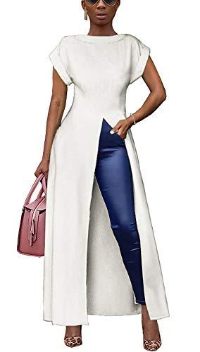 Womens Short Sleeve High Low Front Split Long Shirt Maxi Dress White S ()