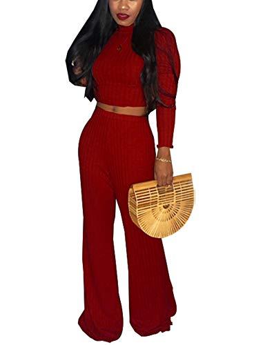 c599017f1c92 2 Piece Outfits for Women Clubwear - Elegant Slim Long Sleeve Crop Top + High  Waist