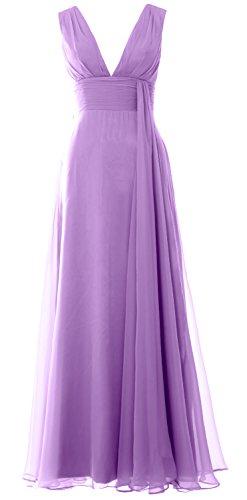 MACloth Women Deep V Neck Long Bridesmaid Dress Chiffon Simple Prom Gown Lavendel BVMcp