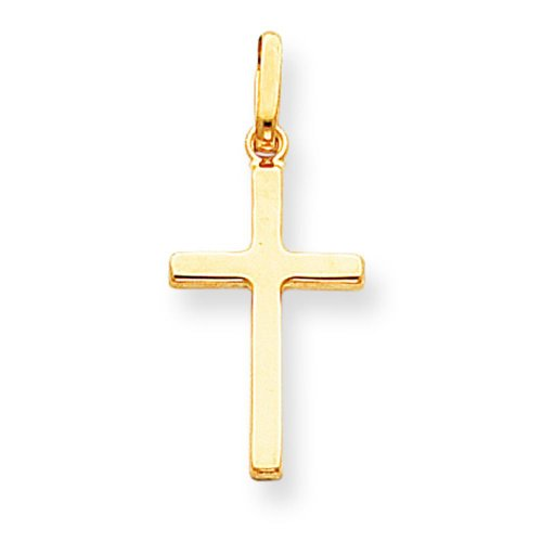 14K Yellow Gold Cross Pendant Charm Religious