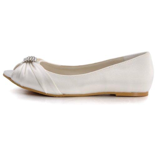 Mariage Ep2053 Plates Chaussures Ivoire Femme De Elegantpark Ouvert Strass Bout Satin zAq7AS