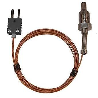 M Digi-Sense Type-K Pipe Plug Probe SS 1//4 NPT 0.5 L Grounded 5ft Cable Mini-Connector