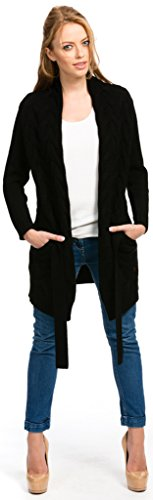 (Citizen Cashmere Long Cardigan - Cable Knit (Black L) 41)