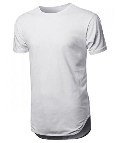 Mens Basic Hipster T-Shirts Plain Hip-Hop Soft Cotton Casual Trim (Large, HBHP02-White)
