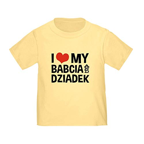 CafePress I Love My Babcia and Dziadek Toddler T Shirt Cute Toddler T-Shirt, 100% Cotton Daffodil Yellow