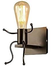 IJzeren Wandlampen Creatieve Afgestudeerde Individuele Mensen Wandlampen Slaapkamer Woonkamer Moderne Wandlampen Verlichting E27 (zwart)