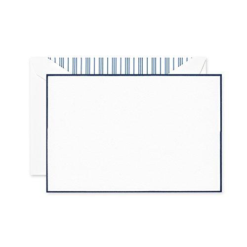 Crane & Co. Navy Bordered Pearl White Correspondence Card (Bordered Correspondence Cards)