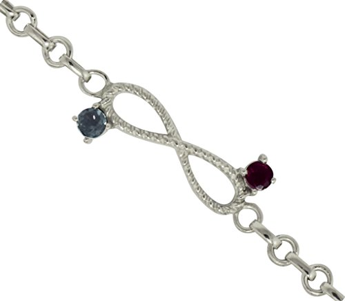 Natural Ruby With White Topaz Gemstone 925 Sterling Silver Bracelet
