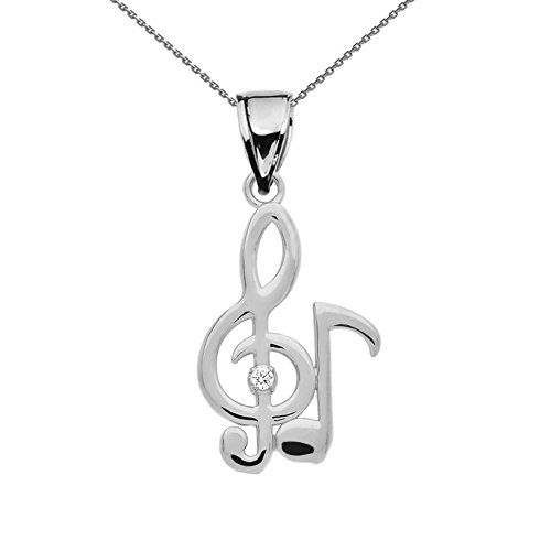 Fine Sterling Silver Diamond Treble Clef and Eighth Note Pendant Necklace, 18
