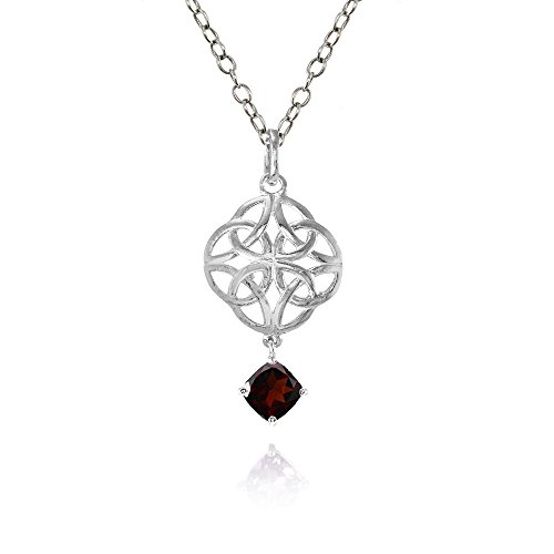 Ice Gems Sterling Silver Garnet Celtic Filigree Cushion Cut Dangling Necklace