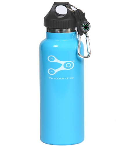 Treksos Insulated Stainless Steel Water Bottle Wide Mouth Vacuum Double Wall BPA Free - 20 Oz / 600 Ml, Plus a Carabiner and a Compass- Sky Blue (600 Bottle Vacuum)