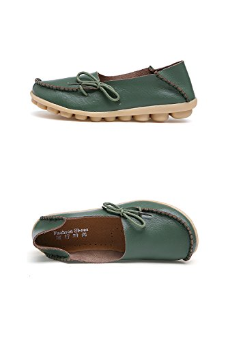 Flat RT on Shoes Wild Breathable Loafers Slippers Indoor nbsp;Moccasins Group Women's Casual Leather 1armygreen Slip 7wzqX7r