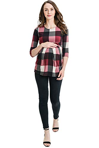 LaClef Women's Round Neck 3/4 Sleeve Front Pleat Peplum Maternity Top (Burgundy Plaid, M) by LaClef (Image #3)