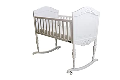 Green Frog, Antique White Baby Cradle | Handcrafted Elegant Wood Baby Cradle | Premium Pine Construction | Rocking and Stationary | White