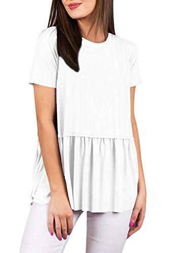 For G and PL Womens Solid Color Flowy Shirt Summer Loose Short Sleeve Blouse Pleated Swing Cotton Tunic Top White XL