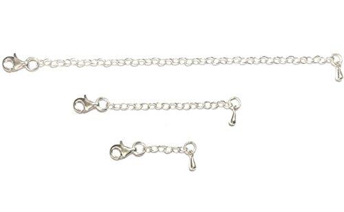 (eSILVER Necklace Extender Set for Anklet Bracelet Necklace Pendant Chains, 925 Sterling Silver, 1