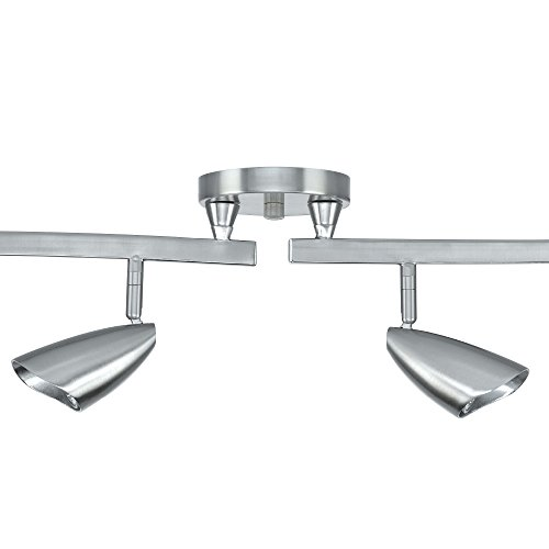 Globe Electric 59062 Grayson 6-Light S-Shape Track Lighting Bulbs Included, Brushed Steel by Globe Electric (Image #2)
