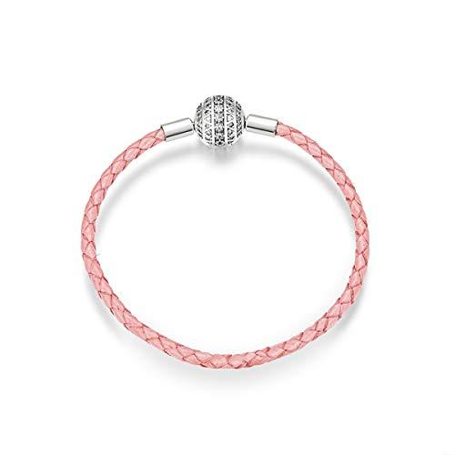 SLUYNZ Pink Braided Leather Bracelet for Women Teen Girls Sterling Silver Cubic Zirconia Charm Bracelet (19)