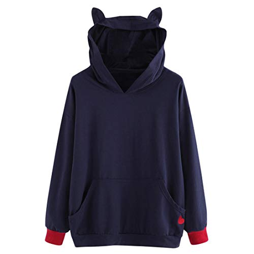 Trendinao Womens Cat Heart Embroidered Long Sleeve Sweatshirt Hooded Pullover Tops Blouse (Blue,Small) from TRENDINAO Blouse