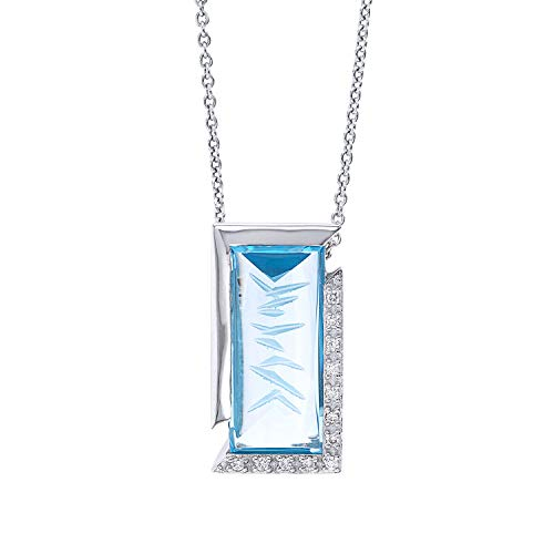 old Blue Topaz and Diamond Necklace,18