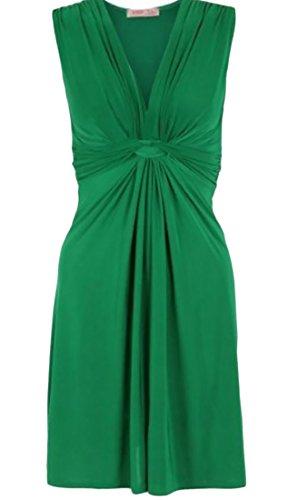 Cruiize Womens Sexy Solid Fashion Bandge V Neck Sleeveless Dress Green L