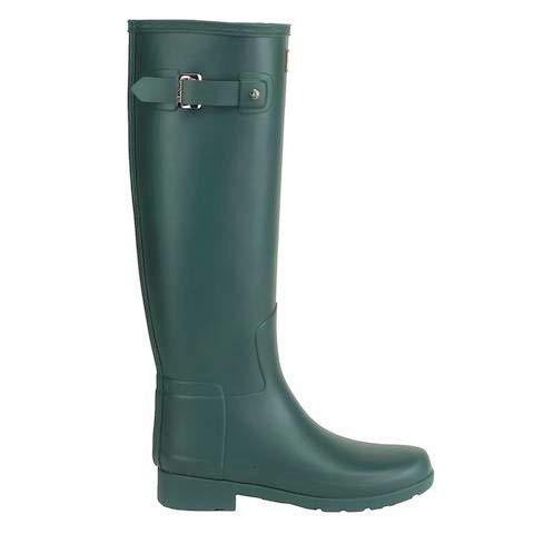 Womens Hunter Original Refined Winter Snow Waterproof Boots Wellington - Green - 6