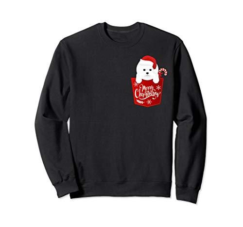 Funny Bichon Frise Dog Pocket Merry Christmas - Sweatshirt Bichon