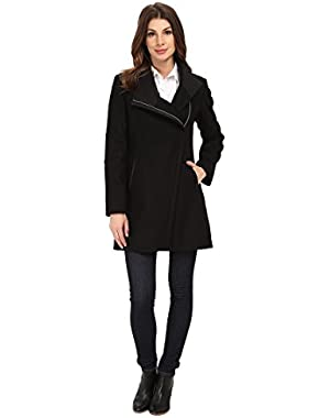 Calvin Klein Women's Wool Asymmetrical Zip Coat