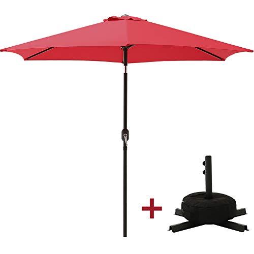 SUPERJARE Outdoor Umbrella Equipped with Cross Base & Sandbag, 9 FT Patio Market Table Umbrella, Garden/Balcony/ Beach, Red