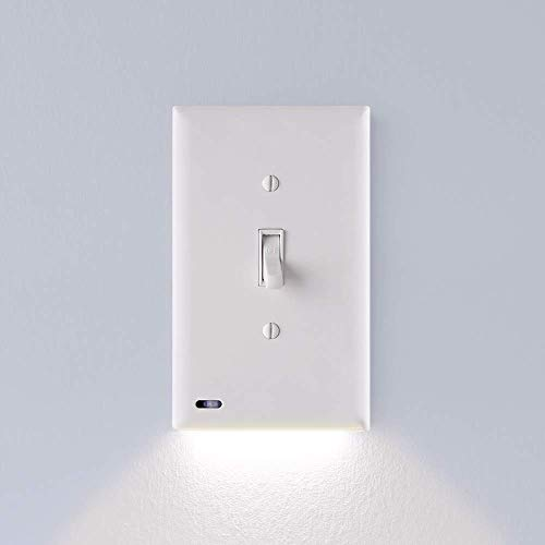 (1 Pack - SnapPower SwitchLight - LED Night Light - For Light Switches - Light Switch Wall Plate With Built-In LED Night Lights - Bright/Dim/Off Options - Automatically On/Off Sensor - (Toggle, White))