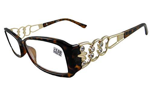 Tortoise Rhinestone (Circleperson Women reading glasses plastic+metal reader w rhinestone 52-17 (Tortoise/gold, 1.5))