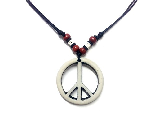 Cookie Costumes Fortune Girls (Peace Sign Necklace - Peace Symbol Necklace - Resin Peace Sign Pendant - Adjustable Black Cord)
