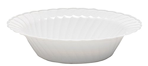 WNA 18 Count Classicware Plastic Fluted Bowl, 10 oz, White 18k Fluted