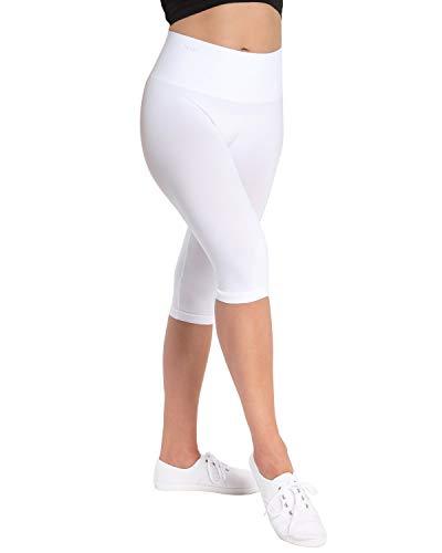 Double Agent High Waist Shaping Capris - SlimMe by MeMoi - Versatile Leggings ,White,Large